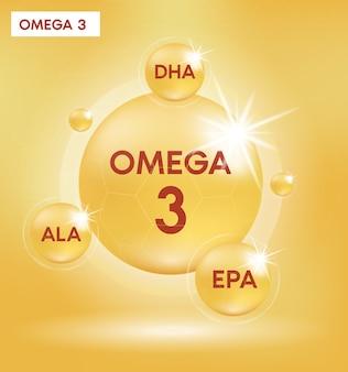 오메가 3 영양소는 알약 캡슐을 떨어 뜨립니다. 빛나는 황금 에센스 방울. 미용 치료 영양 피부 관리 디자인.