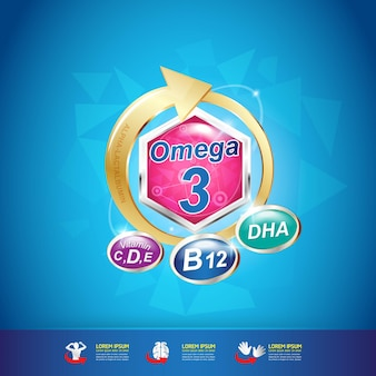 Omega vitamin and nutrition logo  product for kids.