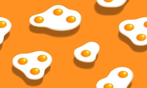 노란색 배경에 오믈렛 원활한 패턴 아침 식사 아이소메트릭 디자인 스크램블 에그 그래픽