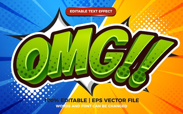 Omg comic cartoon text effect on halftone comic background
