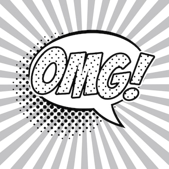Omg pop art black and white vector illustration graphic design speech bubble