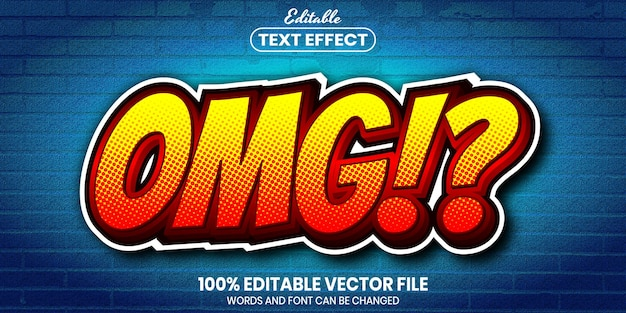 Omg text, font style editable text effect