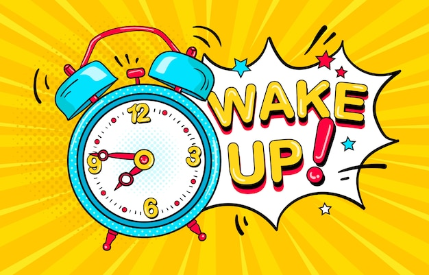 Сomic alarm clock ringing and expression speech bubble with wake up text