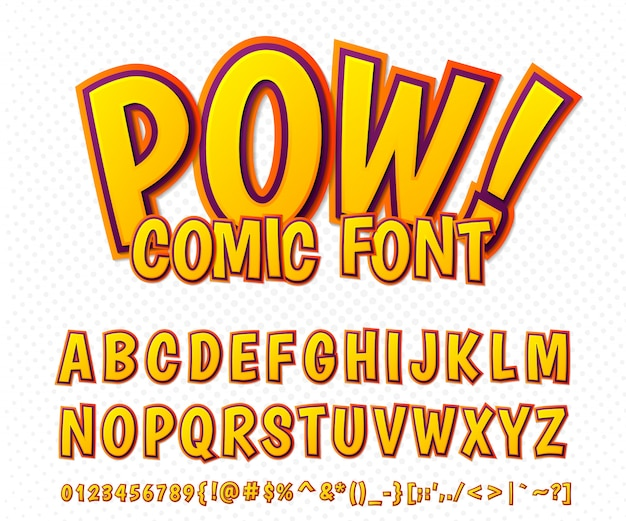 Сomic font, alphabet in style of comics book, pop art. multilayer funny orange letters and numbers