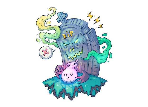 Ominous grave and little ghost. creative cartoon illustration.