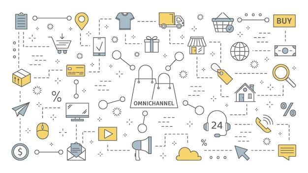 옴니 채널 개념. 고객과의 많은 커뮤니케이션 채널. 온라인 및 오프라인 소매는 비즈니스 성장에 도움이됩니다. 라인 아이콘의 집합입니다. 삽화