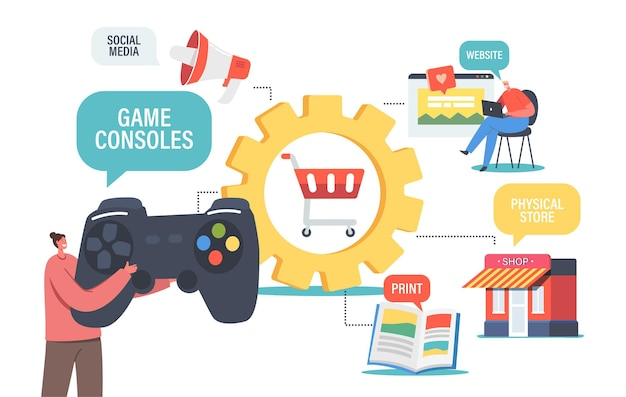 Omnichannel, digital marketing concept. customer character use game console, social media, print, shop and website for communication with seller or online shopping. cartoon people vector illustration