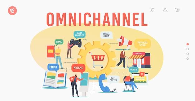 Омниканальный шаблон целевой страницы. несколько каналов между продавцом и покупателем. цифровой маркетинг, интернет-магазины. электронная почта, социальные сети, колл-центр. мультфильм люди векторные иллюстрации