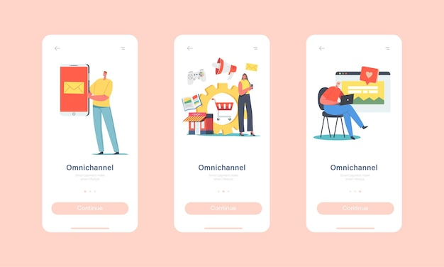 Omnichannel mobile app page onboard screen template. several communication channels, digital marketing, online shopping. characters use e-mail, social media concept. cartoon people vector illustration