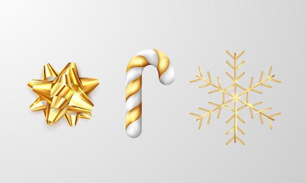 灰色がかった白の背景に、金色のリボン、金色の笏、金色の雪片が輝いています。ベクトルイラスト装飾テンプレート
