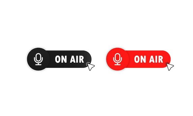 バナーデザイン用のオンエアボタン。エアボタンの赤。放送テキスト付きのtudioテーブルマイク。 webキャストオーディオレコードのコンセプトボタン。ベクトルイラスト。