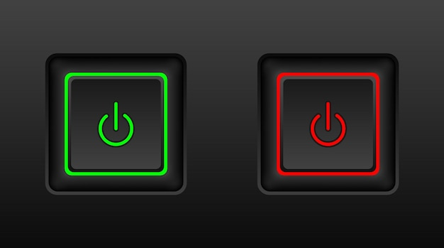 オンとオフのボタンの長方形スタイル