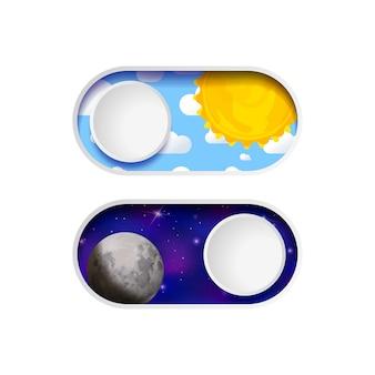 켜기 및 끄기 낮과 밤 토글 스위치 버튼 흰색 절연