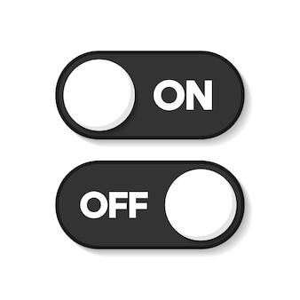 オンとオフのアイコンは編集可能です。ボタンベクトル記号を切り替えます