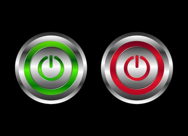 녹색 및 빨간색 금속 모양의 켜기 및 끄기 푸시 버튼