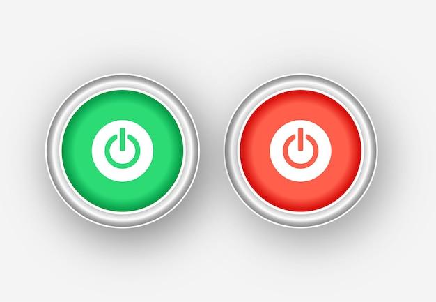 켜기 및 끄기 푸시 버튼 아이콘 빨간색과 녹색
