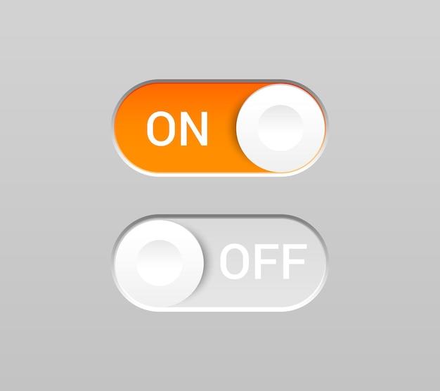 현실적인 스타일의 스위치 버튼과 비문이있는 켜기 및 끄기 토글.