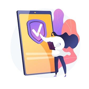 Страхование по запросу. цифровой страховщик, мобильное приложение, инновационная бизнес-модель. клиентка женского пола, заказывающая страховой полис онлайн. векторная иллюстрация изолированных концепции метафоры