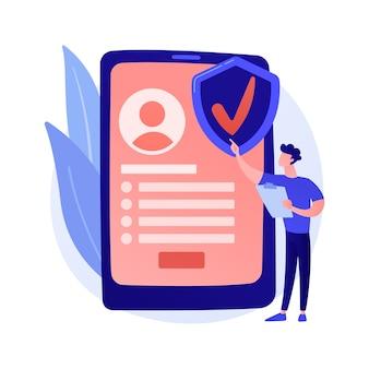 주문형 보험 서비스. 디지털 보험사, 모바일 앱, 혁신적인 비즈니스 모델. 온라인으로 보험 정책을 주문하는 여성 고객.