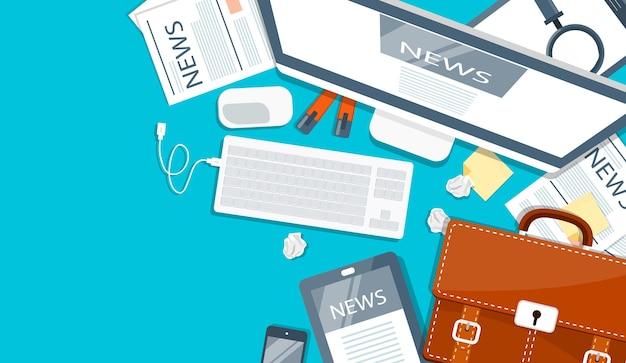 라인 뉴스 개념. 태블릿이나 스마트 폰에서 신문 읽기