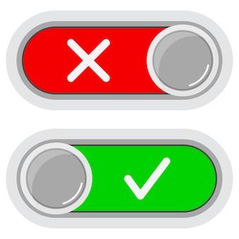 켜기 끄기 흰색 배경에 고립 된 슬라이더 버튼 아이콘 세트를 전환합니다.