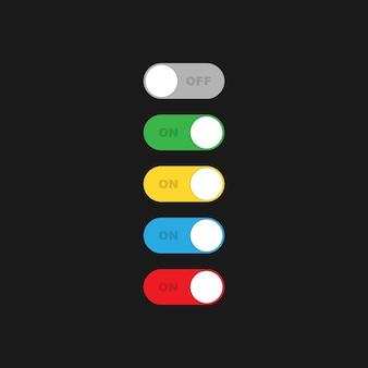 켜기/끄기 토글 스위치 여러 가지 빛깔의 세트. 켜기 및 끄기 버튼 기호 기호는 어두운 배경에 고립입니다. 벡터 eps 10