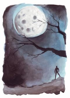 水彩イラストの狼男のシルエットが満月の夜に