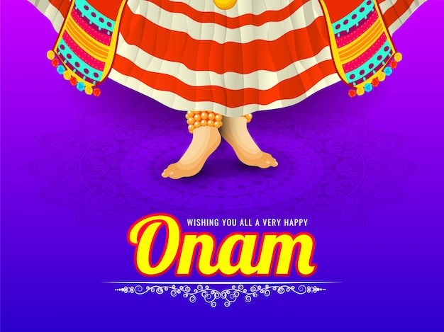 Onam festival message card or poster design with illustration of kathakali or classical dancer on floral pattern background.