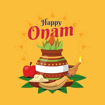 Onam illustration with decoration