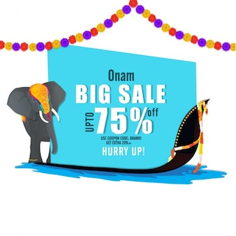 Onam sale background with elephant and boat race