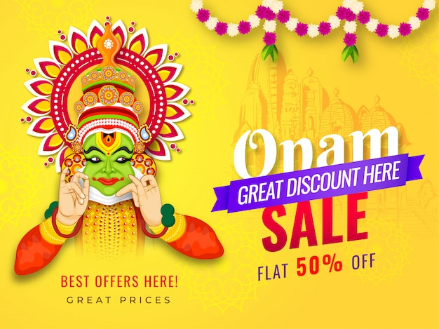 Onam sale banner or poster design with 50% discount offer and illustration of kathakali dancer