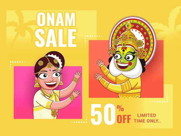 Onam sale poster  , cheerful woman and kathakali dancer on yellow background.