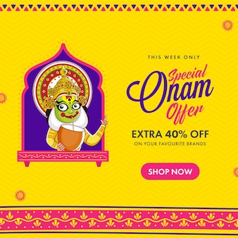 Onam sale poster design with kathakali dancer drinking coconut water on yellow and pink background.