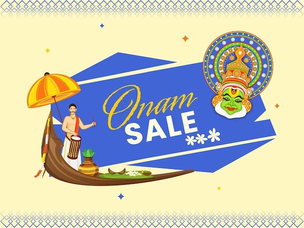 Onam sale poster design with south indian drummer, kathakali dancer face and festival elements over background.
