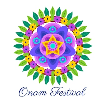 Onam traditional floral decor illustration