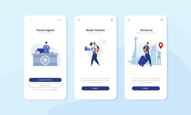 Onboard mobile screen with travel agent illustration concept