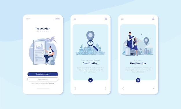 여행 앱 일러스트레이션 컨셉이 있는 온보드 모바일 화면