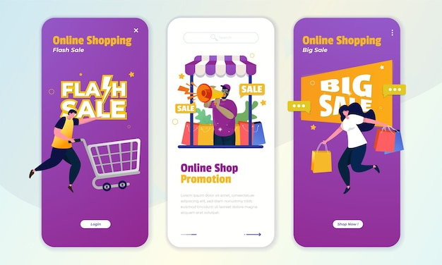 An onboard screen concept with illustration of online shop promotion, flash sale and big sale offers