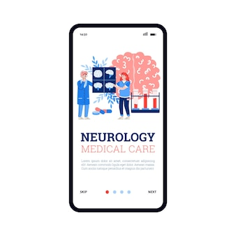 Onboard screen for neurology or nervous system treat flat vector illustration