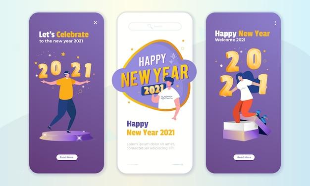 新年のイラストの挨拶の概念とオンボード画面