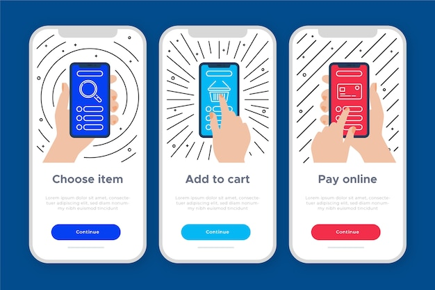 Onboarding app concept for purchase