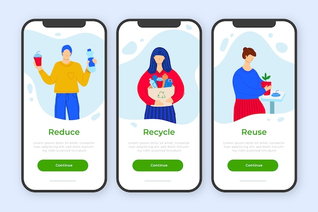 Onboarding app concept for recycle