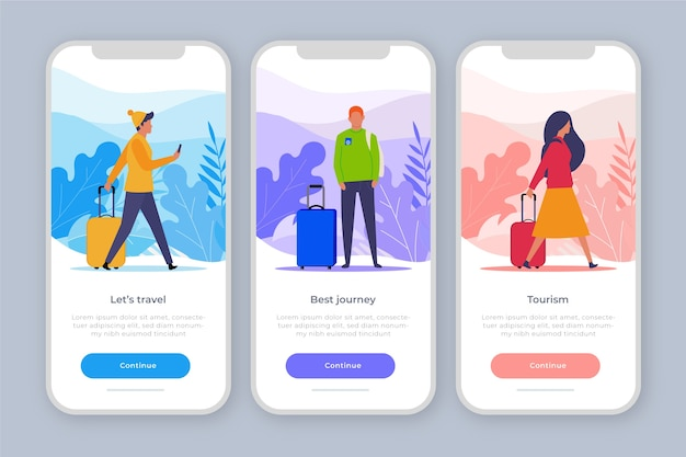 Onboarding app concept for traveling