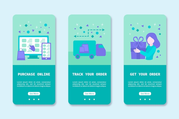 Onboarding app design for online purchase