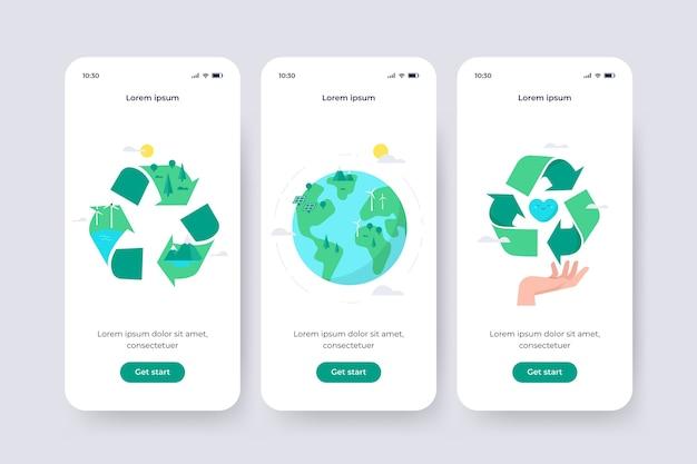 リサイクルテーマのオンボーディングアプリ画面