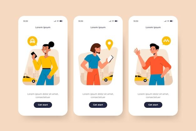 タクシーサービステーマのオンボーディングアプリ画面