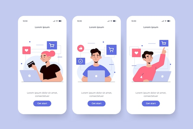 Onboarding app screen for online purchase concept