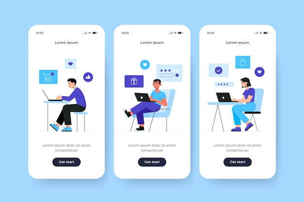 Onboarding app screen for online purchase
