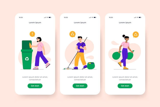 Onboarding app screen for recycle concept