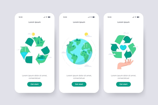 Onboarding app screen for recycle theme